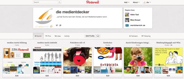 Pinterest Profil – die medientdecker