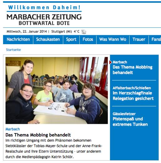 Bericht in der Marbacher Zeitung über einen Cybermobbing-Workshop mit Katrin Schlör