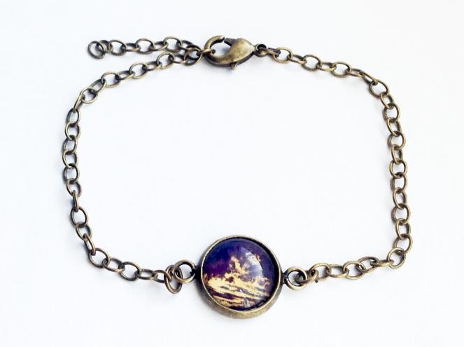 """Foto-Armkette """"Nachtblau"""" Preis: 13,50 € Der Cabochon hat einen Durchmesser von 12 mm. Das Armkettchen ist durch den praktischen Verschluss individuell einstellbar."""